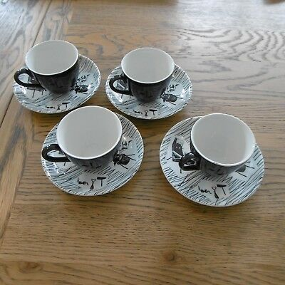 Four Homemaker Mocha Cups and Saucers by Ridgway
