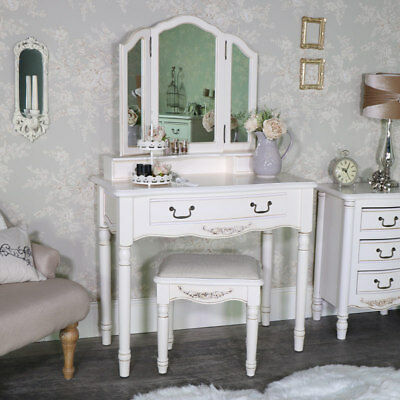 Cream dressing table set ornate vintage French chic bedroom vanity furniture
