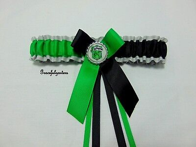 Small Harry Potter Slytherin bridal wedding garter. toss. bride