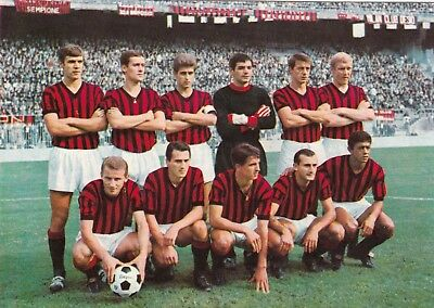 Calcio/football Cartolina MILAN 1966 Ed. Persicostampa originale