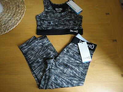 USA Pro Girls Gym Dance 3/4 Leggings or Crop Top Age 7 8 9 10 11 12 13 BNWT