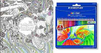 The Magical Journey Colouring Pack Adult Book 24 Pencils