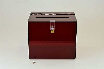 Suggestion Box / Collection Box Lockable - BB0005 Red Tint 5mm Acrylic