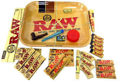 Raw Rolling Tray Smokers Gift Set Herb Grinder Smoking Pipe Filter Tips