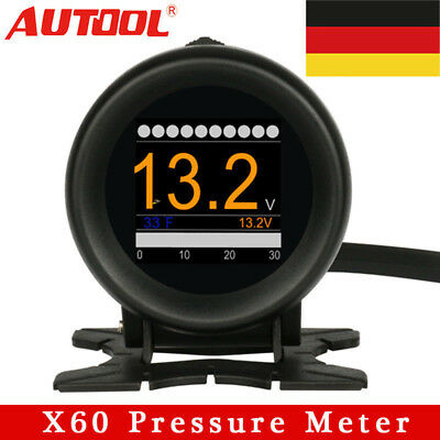 Autool X60 12V Car OBD2 Digital Boost Pressure Meter Alarm Multi-function DE