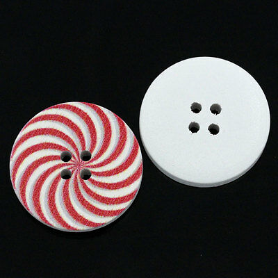 Red and White Swirly Wooden Button 30mm (3cm) Sewing, Button art, Crafts,