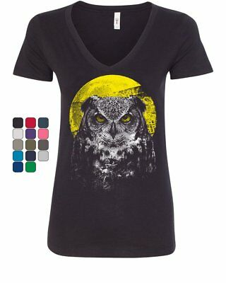 Ladies Cycling Owl Bike Parts Breathable top átee T SHIRT DRY FIT V NECK T-SHIRT