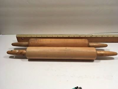 2 Vtg  Wooden Curly Rolling Pin Ball Bearing Wood Handles