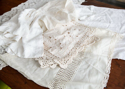 LOT 6 Antique Vintage Table Linens ~ napkins, runners, doilies ~ all white