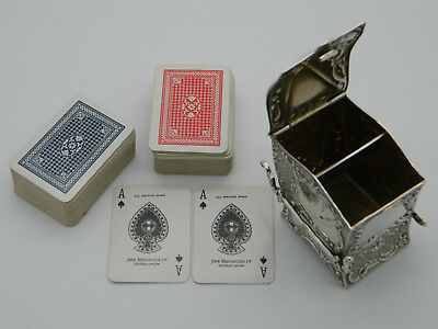 Victorian Solid Silver 72.7g Miniature Sedan Playing Card Case 1899 London