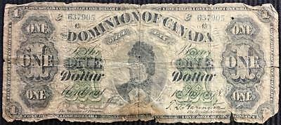 1878 Dominion Of Canada One (1) Dollar Bank Note