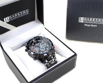 BARKERS Mega Sport WATCH 230g 51mm BLACK 3 Function Dial GREY Metal Bracelet