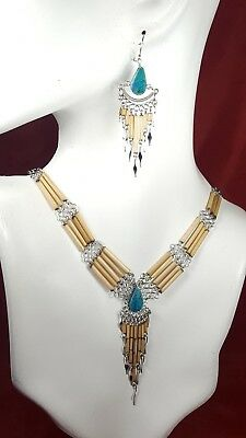 Women/'s Statement BOSS Necklace /& Bamboo Earring Set XC538