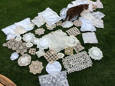 Job lot of 97 vintage lace doilies various sizes, used at wedding