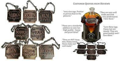 Copper Liquor Decanter Tags / Labels Set of Eight - Whiskey, Bourbon,