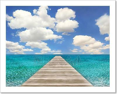Ocean Beach Scene With Wood Pier Art Print Home Decor Wall Art Poster - D