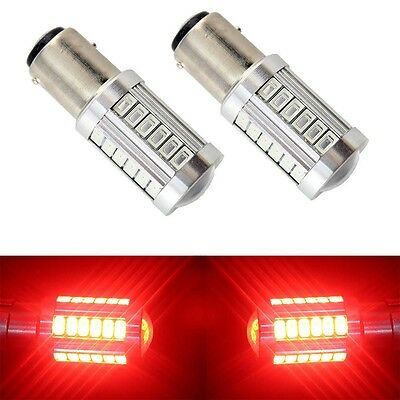 2x Red BAY15D 1157 Car Tail Stop Brake LED Lights 5630 33 SMD Auto Reverse Bulbs