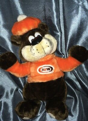 "A&W Root Beer Mascot Rooty The Great 16"" Plush Stuffed Teddy 1995 Vintage"