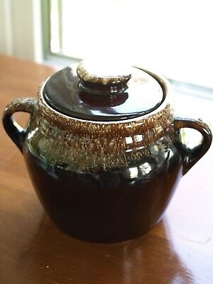Vintage USA Pottery Brown Bean Pot w/Lid-1059