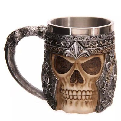 Gothic 3D Warrior Skull Tankard Pirate Helmet Beer Mug Coffee Cup Drinkware Gift