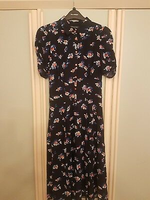 Warehouse, beautiful floral midi dress with collar and buttons. vintage look. 10