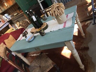 Vintage Old Chic French Farmhouse Oak Table Painted Peacock Blue