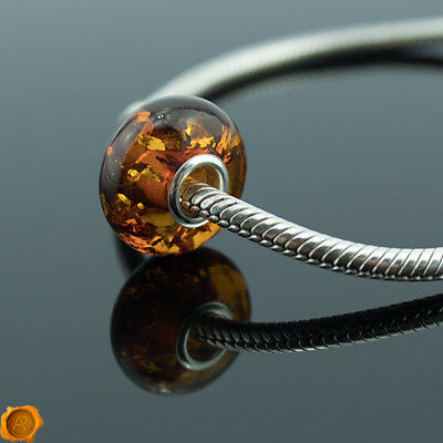 Cognac Baltic Amber Silver Charm Pandora Fits All Charm Bracelets Necklace