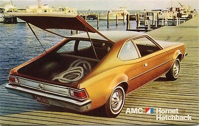 (#329) 1973 American Motors AMC Hornet Hatchback Automobile Car Dealer Postcard