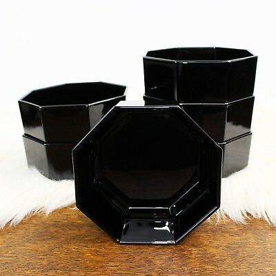 "6x Arcoroc Octime Black Bowl 4 1/2"" France Octagonal Coupe Glass Vintage"