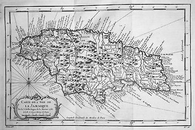 1750 Jamaica Jamaika Kingston Caribbean map Karte Kupferstich engraving Bellin