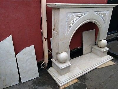 Victorian style ornate cream marble fireplace