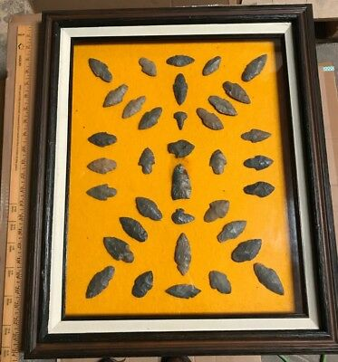 35 Authentic Native American Indian Arrowheads found in Arkansas. Framed.