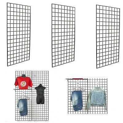 Display Grid Rack 4 Panels Rolling Metal Retail Wall Store Craft