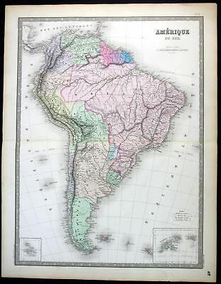 1862 South America Brazil Peru Chile Colombia map Karte Andriveau Goujon