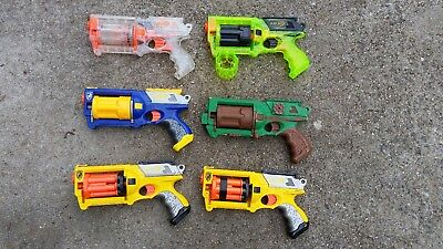 Lot of 6 Nerf N-Strike Maverick Rev-6 War Party Pack Foam Dart Blasters 3 w/mods