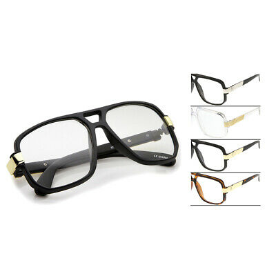 Classic Oversized Square Flat Top DMC Aviator Accented Temple Clear Glasses