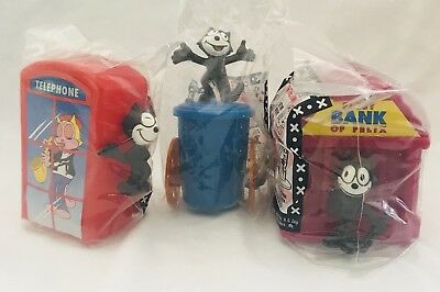 """Set of 3 FELIX the CAT figures 1999 """"ON the TOWN"""" NIP Your's are Sealed"""