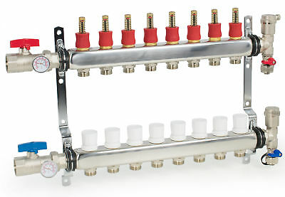 "8 Loop/Branch 1/2"" Pex Manifold Stainless Steel Radiant Floor Heating Set / Kit"