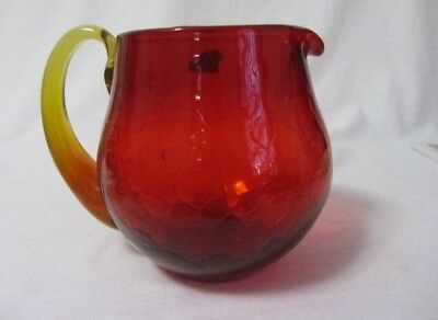 BLENKO CRACKLE GLASS RED AMBERINA 40 oz. JUICE BEVERAGE PITCHER ORIGINAL LABEL