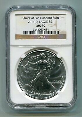 2011(S) American Silver Eagle San Francisco Mint Label Ngc Ms69 Brown Nice Coin