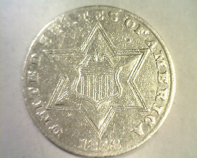 1858 Three Cent Silver Extra Fine / About Uncirculated Xf / Au Nice Original
