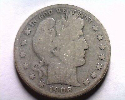 1906-S Barber Half Dollar About Good Ag Nice Original Coin Bobs Coins Fast Ship