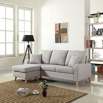 Mid Century Modern Linen Fabric Small Space Sectional Sofa with Reversible...