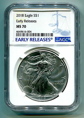 2018 American Silver Eagle Ngc Ms70 New Early Releases Blue Label, As Shown, Pq