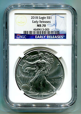 2018 American Silver Eagle Ngc Ms70 Classic Early Releases Blue Label, As Shown
