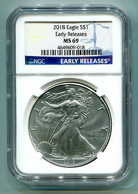 2018 American Silver Eagle Ngc Ms69 Classic Early Releases Blue Label, As Shown