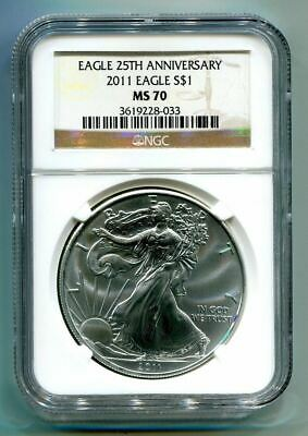 2011 American Silver Eagle Ngc Ms70 Brown Label Premium Quality Coin Pq