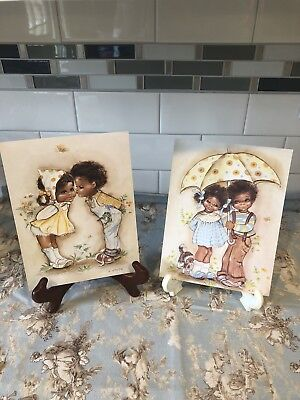Set Of 2 African American Boy And Girl Print By K Smith 80s Lovely Sweet vintage
