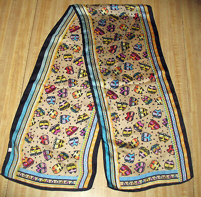 "Laurel Burch 100% Silk Cat Heads Oblong Scarf 49"" x 10"""