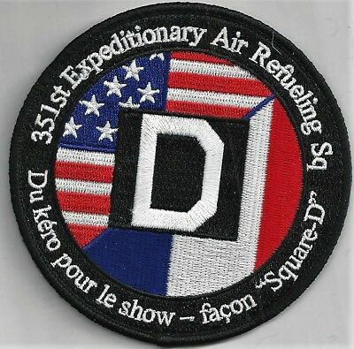 USAF 351st EXP. AIR REFUELING SQ PATCH 'SQUARE D' HOOK & LOOP COLORS